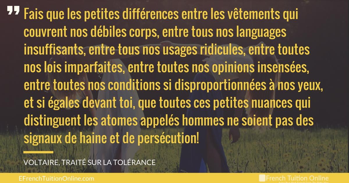 Kick Start Your French Quote of the week 17 - Fais [...] que les petites différences entre les vêtements qui couvrent nos débiles corps, entre tous nos languages.... Voltaire